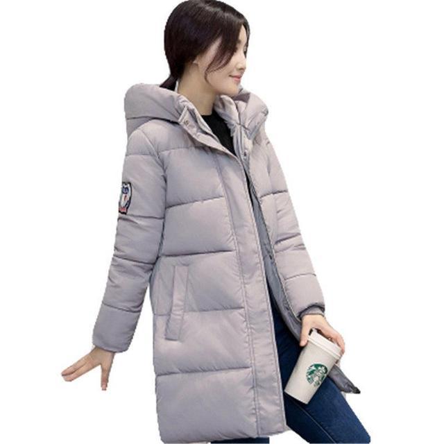 2016 Nova Coreano Casaco de Inverno Mulheres Elegante Pure color Grosso quente Com Capuz Para Baixo Jaqueta de Algodão de Alta qualidade Mulheres de Grande Porte casaco