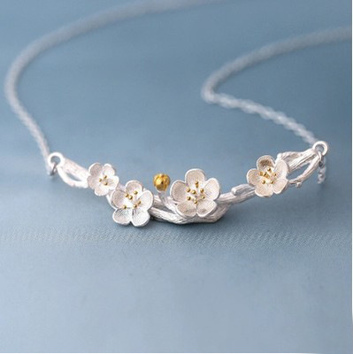 Drop Shipping 925 Sterling Silver Necklaces Plum Flower Pendants&Necklaces Jewelry Collar Colar De Plata