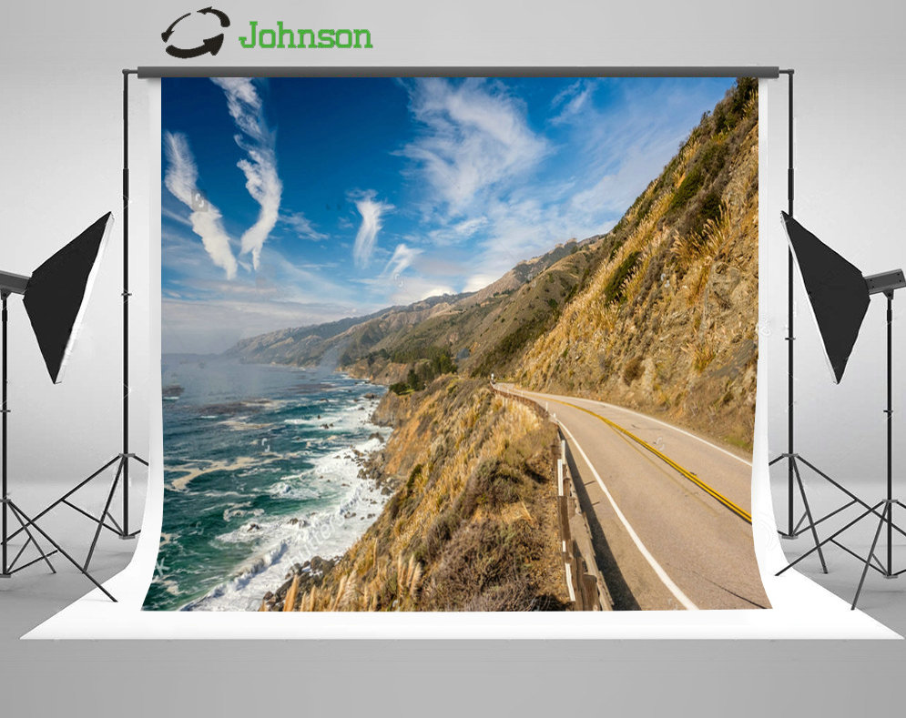 Coast Road Blue Sky White Clouds Sea Mountain background polyester or Vinyl cloth High quality Computer print wall backdrop
