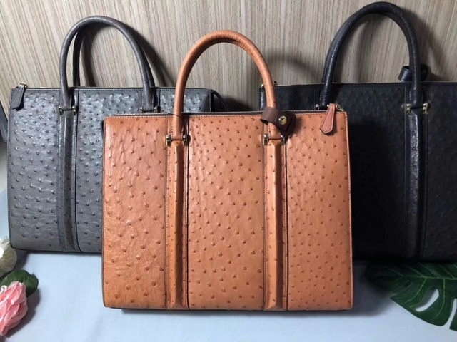 2018 Newly 100 South Africa Genuine Ostrich Leather Skin Men Business Laptop Bag Briefcase Ran