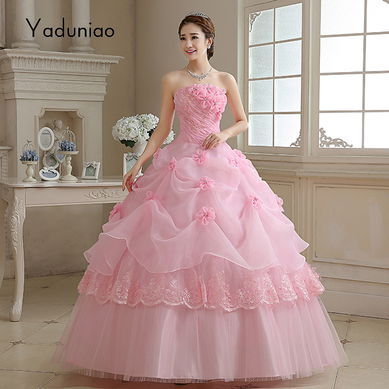 Red/Pink Wedding Dresses Floral Masquerade Ball Gown Wedding Dresses ...
