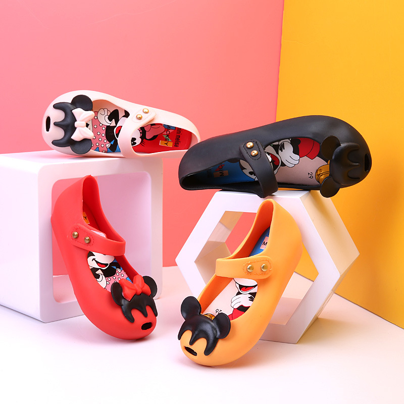Mini Melissa Jelly Sandals Wave Point Mickey Bow Tie Sandals Girl Fish Mouth Princess Sandals Comfortable Shoes
