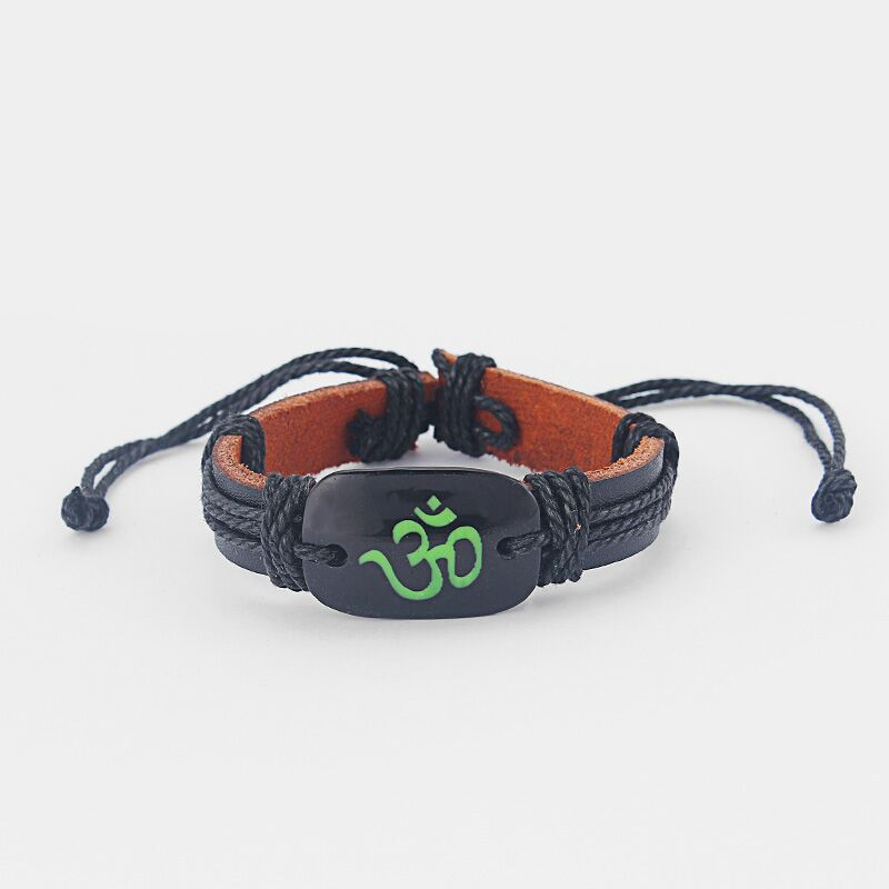 12pcs Black Leather Wristband OM OHM AUM YOGA HINDI OMKARA SYMBOL Charm Bracelet