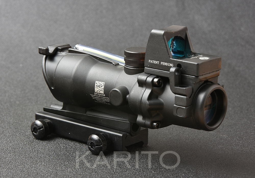 Tactical trijicon acog style 4X32 green optics fiber rifle scope and red dot sight sope hunting shooting M9986