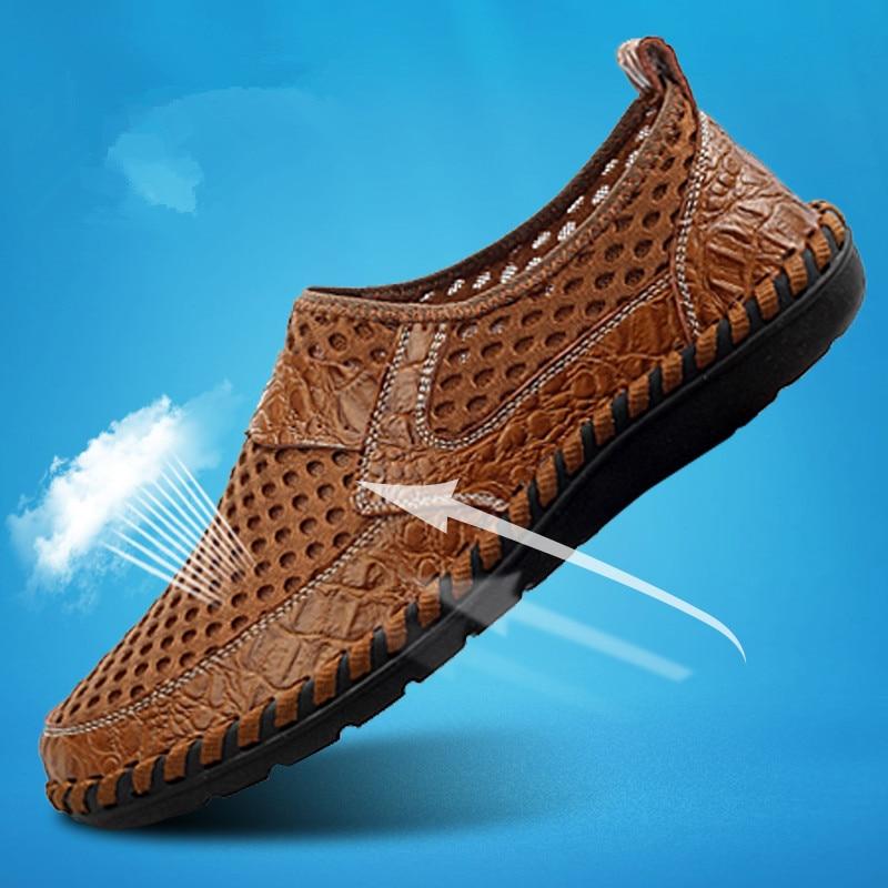 New 2018 Fashion Mens Shoes Leather Summer Split Leather Sandals Men Cutout Business Sandals Driving Moccasins