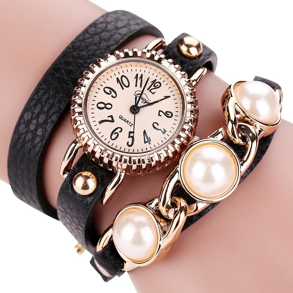 Duoya Femmes Mode Casual Bracelet En Cuir Montre-Bracelet Femmes Robe Relogio Feminino Pearl Clocks Horloges Women Watches B30