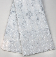 White lace African Tulle Lace Fabric 2017 pure white French Lace Fabric High Quality With sequins Nigerian Embroidery Mesh Lace