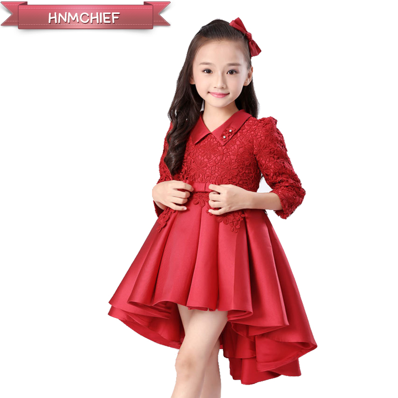 Girls Dress  Tailor Performance  Host Performance Costume Puff  Lace flower decoration V-neck 2017 New pink, red