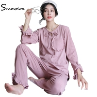 Smmoloa Women Knit Cotton Pajamas Sets Long Sleeve Suit Sweet Home Wear 2 Piece Pyjamas Sets