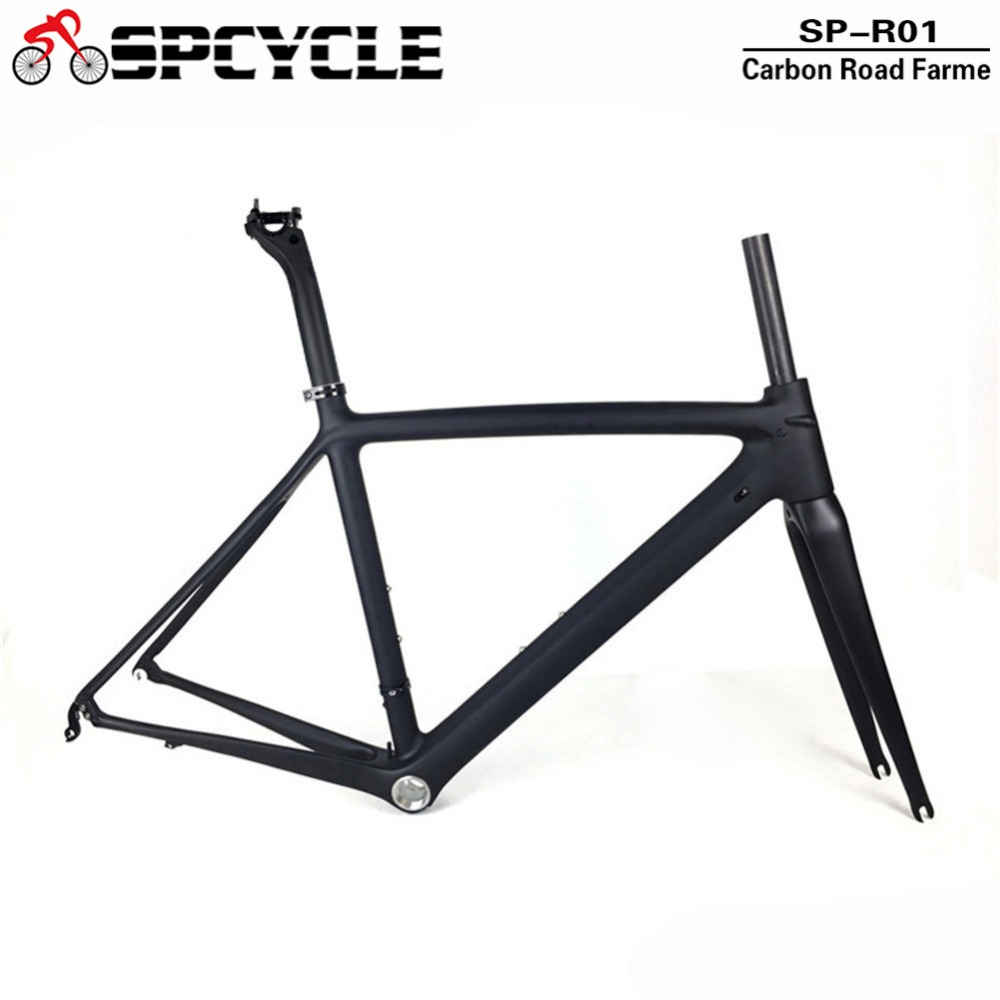 Spcycle Ultraligh T1000 Carbon Fiber Road Bike Frame,UD Matte Racing Road Bicycle Frameset With Frame Fork Headset Seatpost 53cm 55cm 58cm fixed gear bike frame matte black bike frame fixie bicycle frame aluminum alloy frame with carbon fork