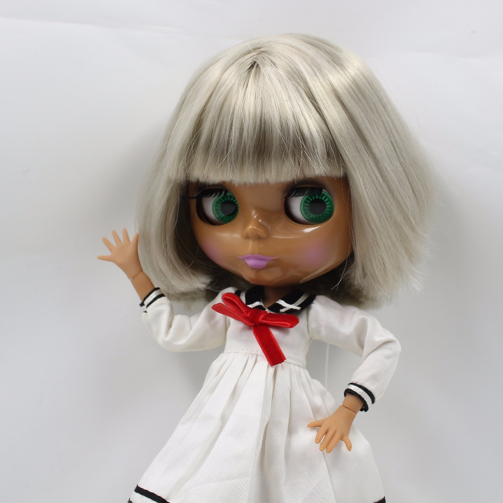 Neo Blythe Doll with Grey Hair, Dark Skin, Shiny Face & Jointed Body 4