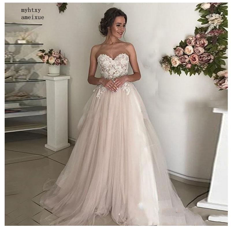 Cheap Beach Wedding Dress Lace  A-line Appliques Tulle Long Princess Bridal Dress 2019 Light Pink Wedding Gown Vestidos De Noiva