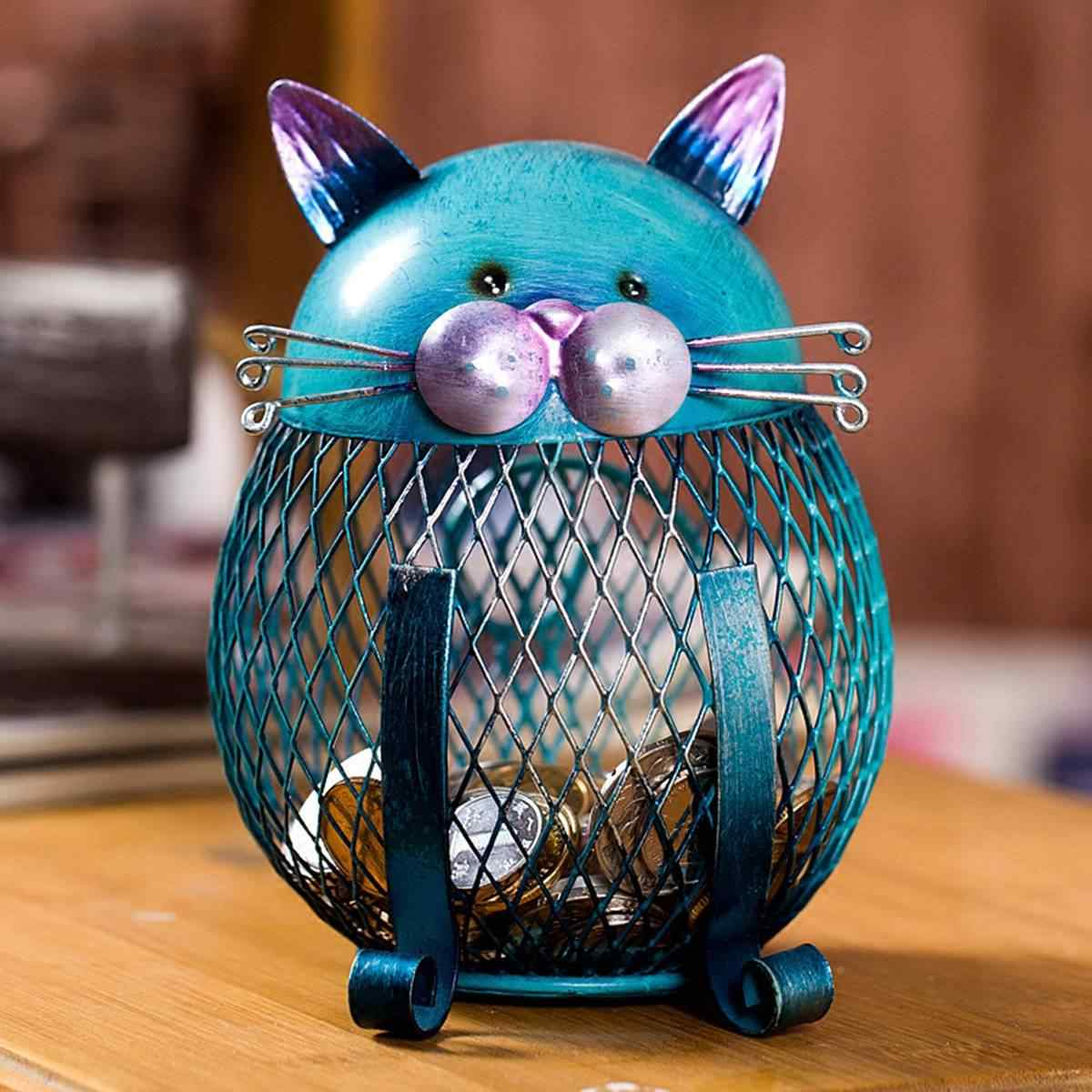 Hucha de gato Tooarts, hucha de Metal, caja de dinero, caja de monedas, ahorro de dinero, decoración del hogar, regalo de Año Nuevo de Navidad para niños