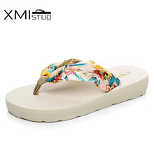 cf2d7b7b52018b XMISTUO Style Sweet fashion flip flops slope with Student colorful slip  female minimalist resort Riband beach