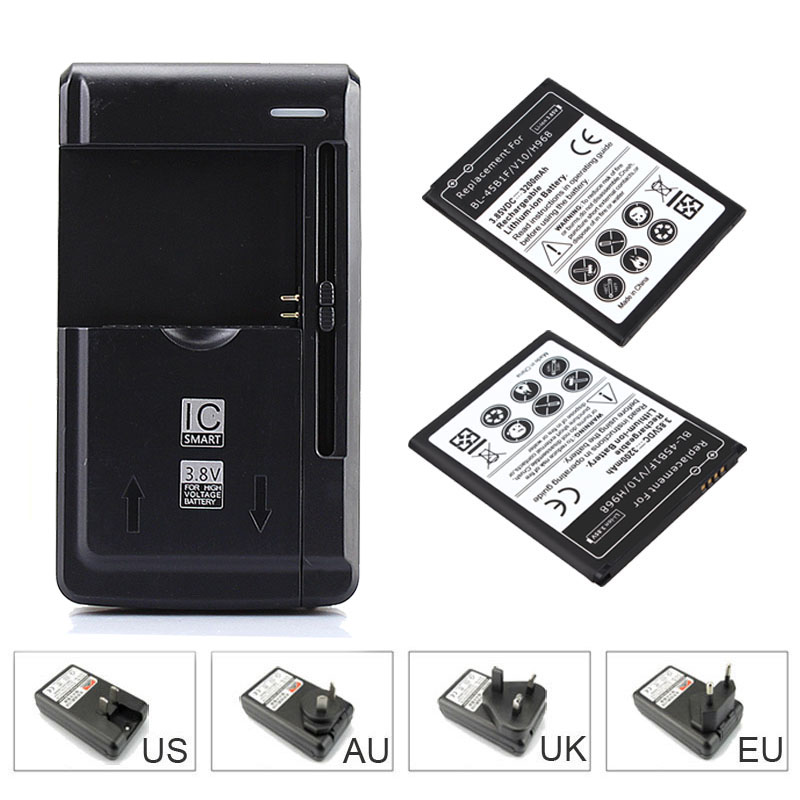 2 x3200mah Replacement Commercial Battery For <font><b>LG</b></font> <font><b>V10</b></font> H968 BL-45B1F Mobile <font><b>Phone</b></font> Backup Battery +USB Travel Wall <font><b>Charger</b></font>