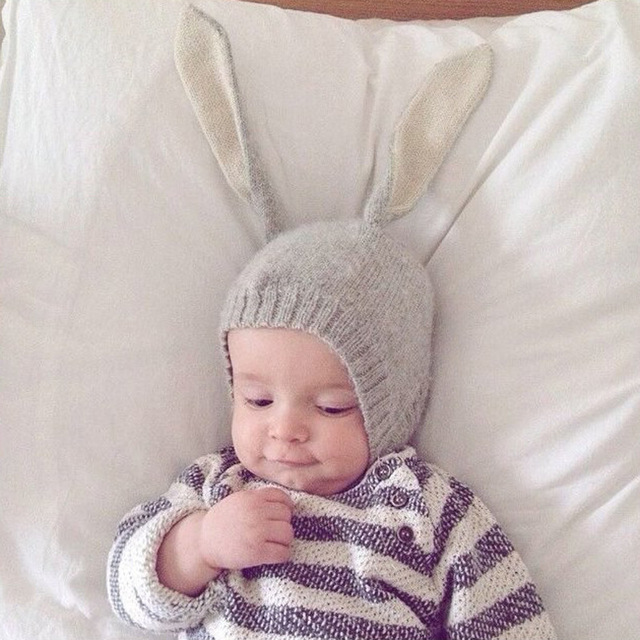 3b5ae15ce9aa9 Cute Girl Baby Rabbit Big Ears Hat Korean Caps Children Winter Warmer  knitted Beanie Infant Photography Props Newborn boys Ins