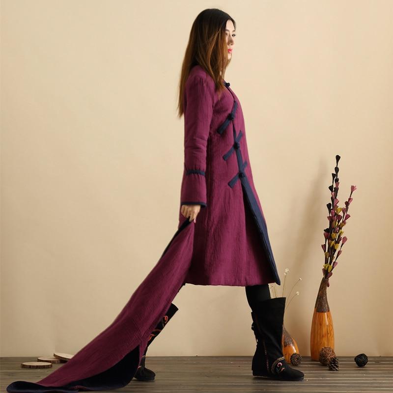 Sonbahar Wadded Uzun Ceket Çin Tarzı Uzun Ceket Kadın Ceket Kış - Bayan Giyimi - Fotoğraf 5