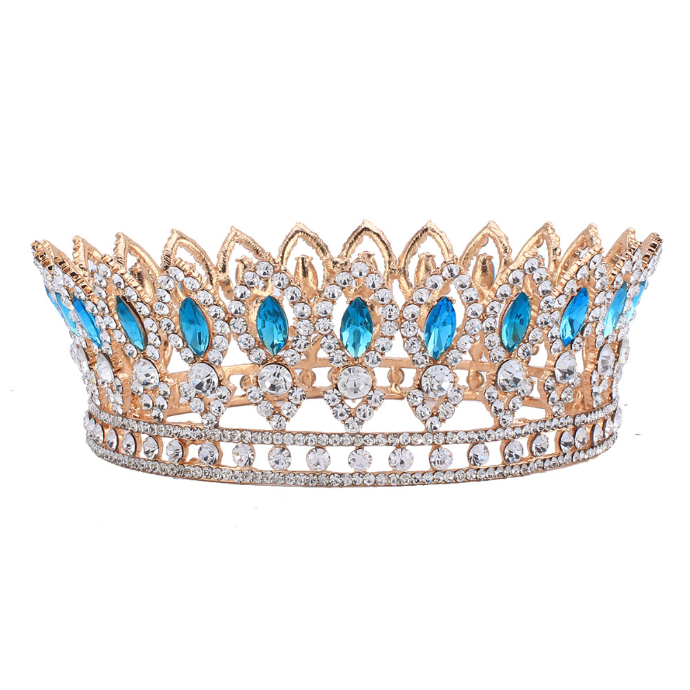 Baroque Style Wedding Bridal Rhinestone Full Crown Horse Eye Blue Crystal  Hair Tiaras Pageant Party Jewelry Gold Color HG00212-in Hair Jewelry from  Jewelry ... 6f2c3ee647d7