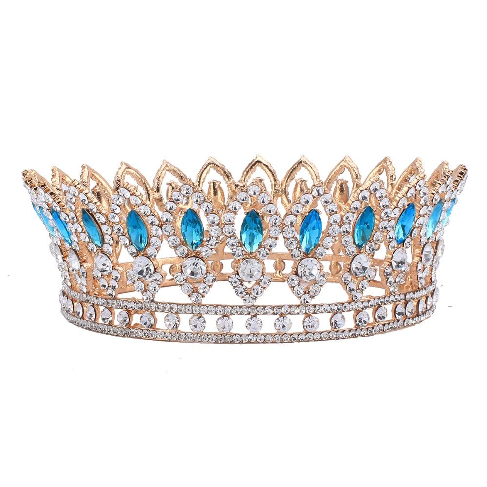 Crowns full circle round tiaras rhinestones crystal wedding bridal - Baroque Style Wedding Bridal Rhinestone Full Crown Horse Eye Blue Crystal Hair Tiaras Pageant Party Jewelry