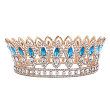 Baroque Style Wedding Bridal Rhinestone Full Crown Horse Eye Blue Crystal Hair Tiaras Pageant Party Jewelry Gold Color HG00212
