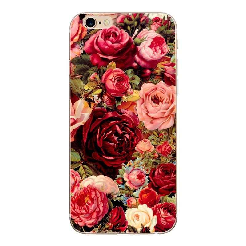 سيليكون لينة لحالة iphone 6s 6 7 8 SE 5 S 5 الزهور الزهور TPU رقيقة جدا روز مصنع الفاوانيا الحب شجرة غطاء ل iphone 8 زائد