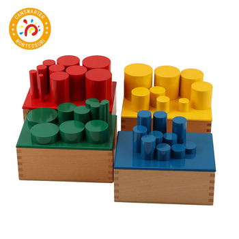 Montessori colorful Baby Toy Learning Teaching Aids Knobless Cylinders Beechwood Education