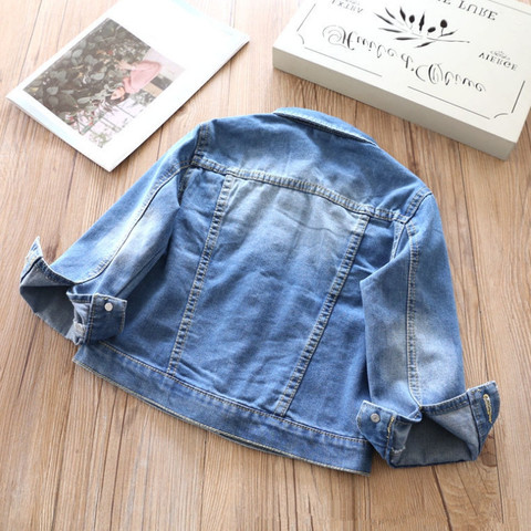 2018 Spring New Arrival Baby Girls Fashion Denim Jacket Kids Flower-embroidery Denim Outerwear Jacket Coat Child Cotton Jacket Lahore