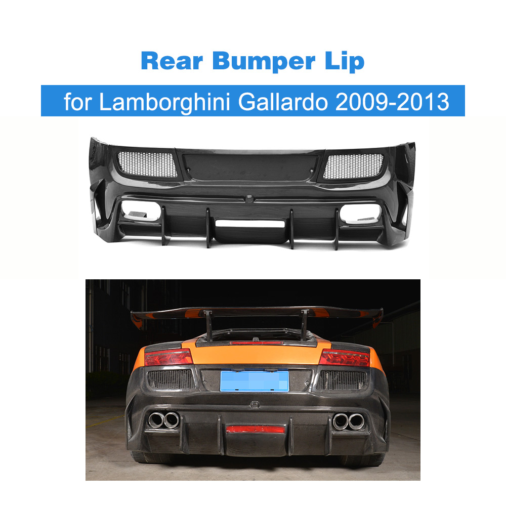 Bumpers Carbon Fiber Rear Bumper Lip Spoiler Diffuser Case For Lamborghini Gallardo Coupe Convertible Lp550 Lp570-4 09-13 Frp Unpainted Exterior Parts