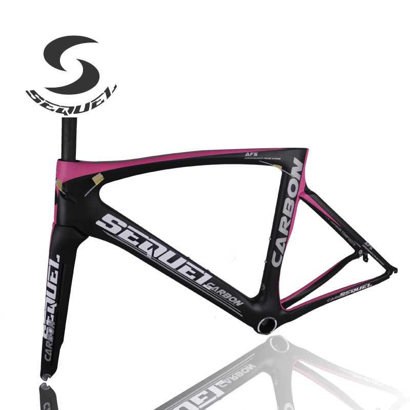 Pink carbon bike frame wind tunnel fork bicycle frames UD weave 2017 bicycle road carbon china