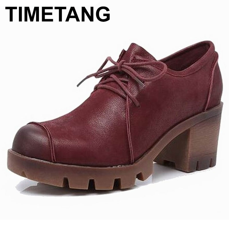 TIMETANG Plus size 34 43 new fashion lace up women pumps genuine leather thick high heels