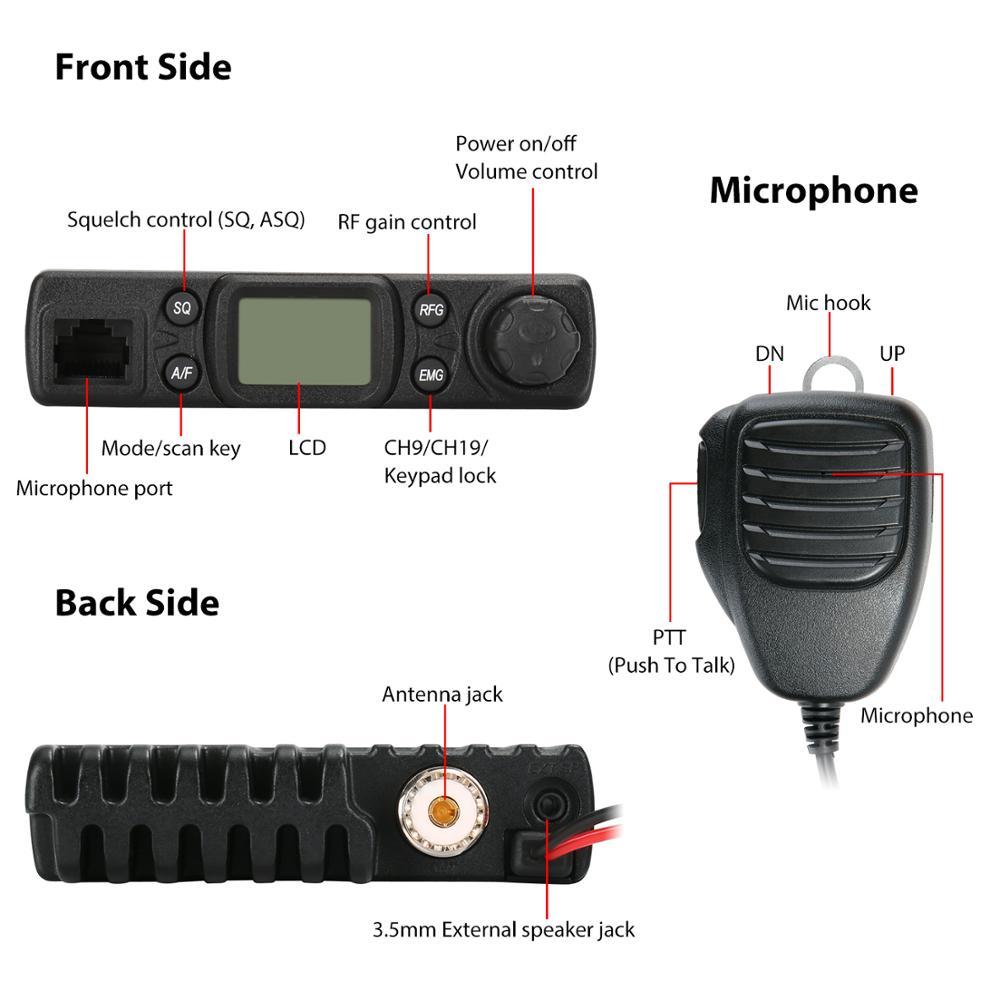 רשימת הקטגוריות Radioddity CB-27 רישיון-חינם רדיו CB עם מיקרופון 40-ערוץ AM PA מערכת RF רווח נייד מידיים חירום ערוץ 9/19 (3)