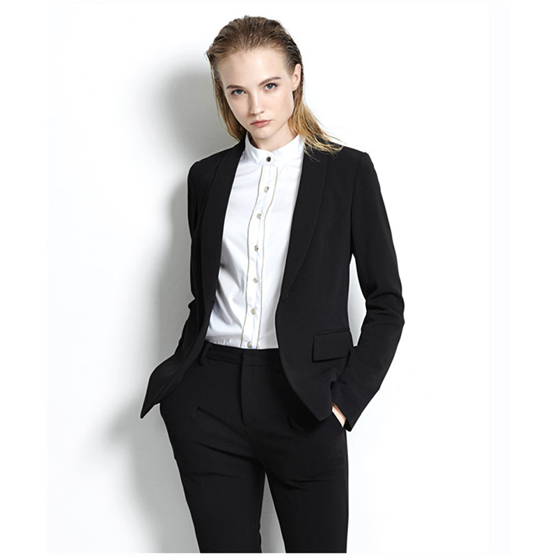 Black Womens Business Suits Office Uniform Designs Women Trouser Suit Slim Fit Formal Pant Suits For Weddings Tuxedo Custom made