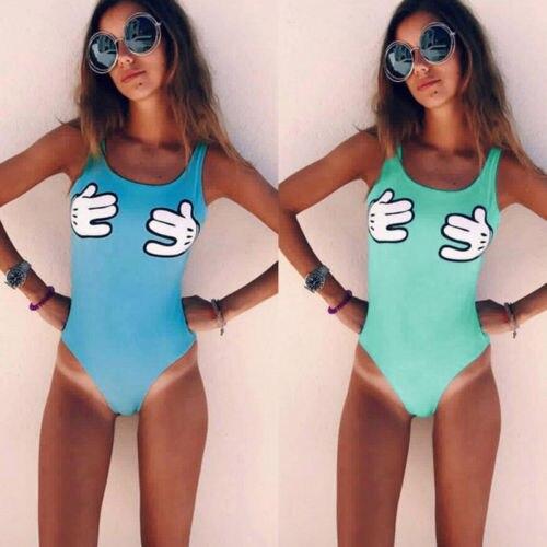 Black Friday Deals New 2018 Summer Women Swimsuit Cartoon Hands One Piece Padded Bikini Swimwear One Piece Monokini Beachwear