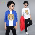 Baby Boys Teenager kids Spring Sport Clothing Set 3Pcs Owl Printed Cartoon Coat Causal jacket+ Black Pants +Shirt Tracksuit L313