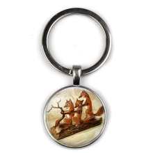 Fashion retro three fox cute personality keychain picture men women sex keyring car key door accessories party gifts