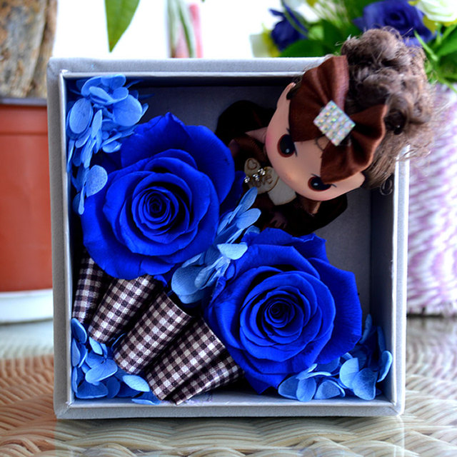 2016 Flannel Girl Doll Flower Box Preserved Fresh Flowers Artificial Real Rose Blue Wedding Decor