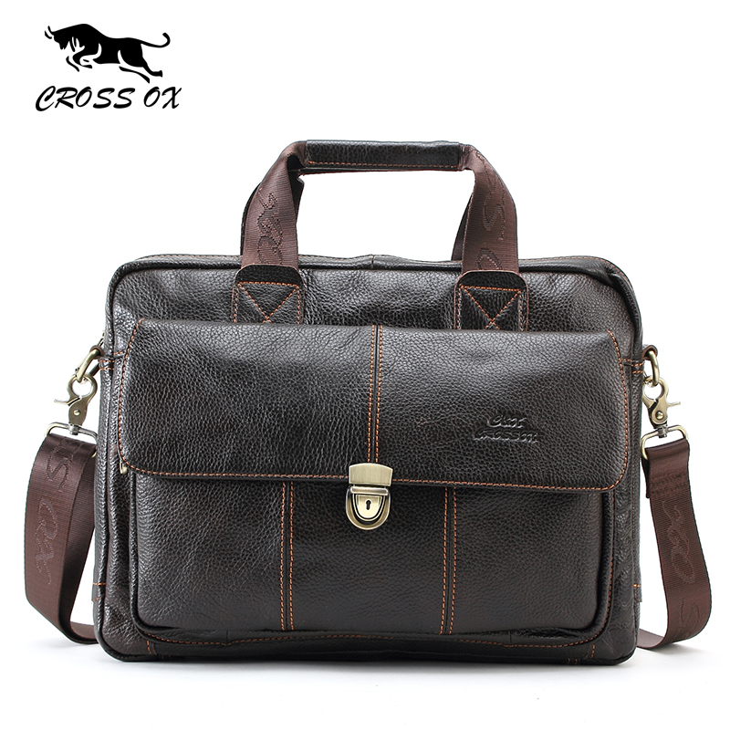 купить  CROSS OX Genuine Leather Handbag For Men Cowhide Messenger bag Men's Crossbody Bag For Travel Bags Casual Briefcase Bag HB316F  недорого