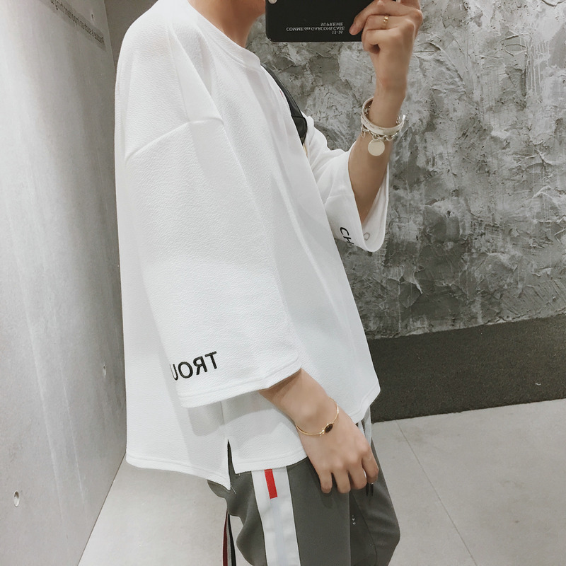 Qian Tang The Wind In Seven Part Man Short T Pity Student Half Sleeve Navy Blue black and white Free shipping Fashion Favourite