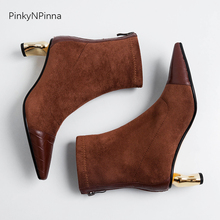 Luxury women fashion ankle boots vintage back zip metallic high heels cowhide leather flock suede office dress party booties zip back cold shoulder suede top