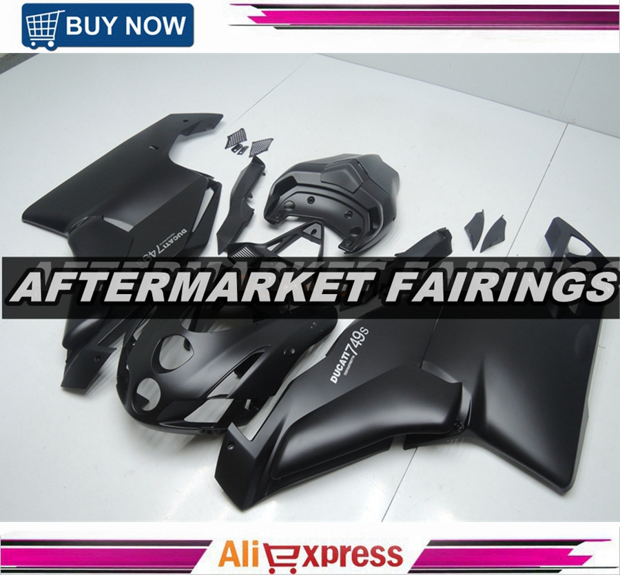 All Matte Black ABS Plastic Raw Material Fairing 749 999 2005 2006 05 06 For Ducati