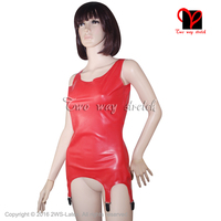 Red Latex dress With Garter Suspenders girdle Rubber straps grips clip top Latex Rubber Dress plus size XXXL SY 045