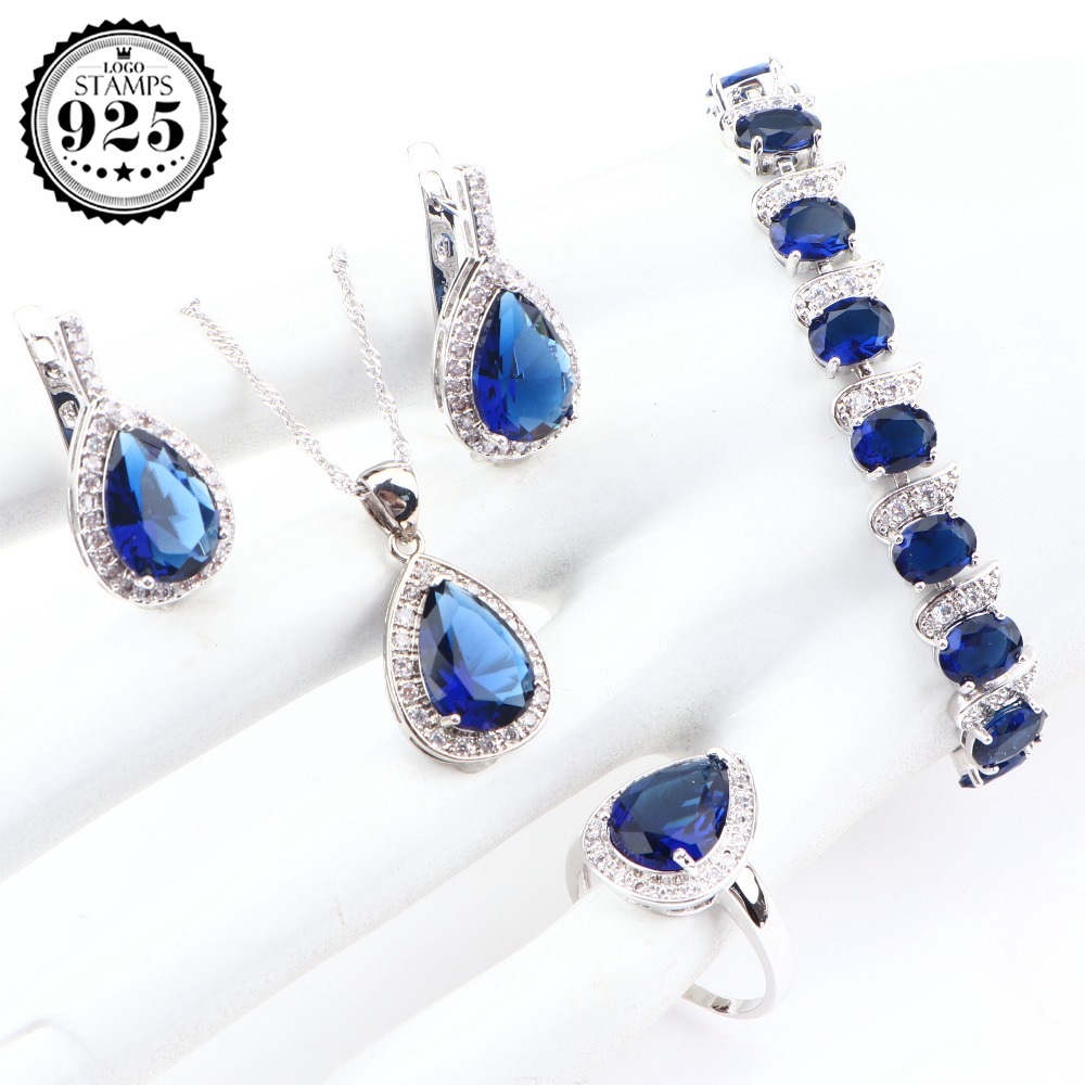 Earrings Bracelet Necklace Jewelry-Sets Gifts-Box Stones Bridal 925-Sterling-Silver Wedding-Zirconia