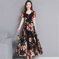 2019 New Summer Floral French Chiffon Dress Women Large Size 4XL Elegant Short Sleeve Summer Dressess N633