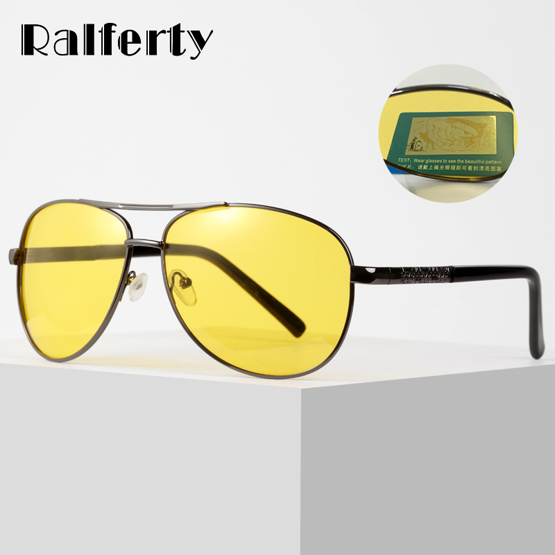 c635d8ecc Ralferty Amarelo Óculos Polarizados Óculos de Sol Das Mulheres Dos Homens  Óculos de Visão Noturna Motorista Óculos de Condução Aviação Óculos de Sol  ...