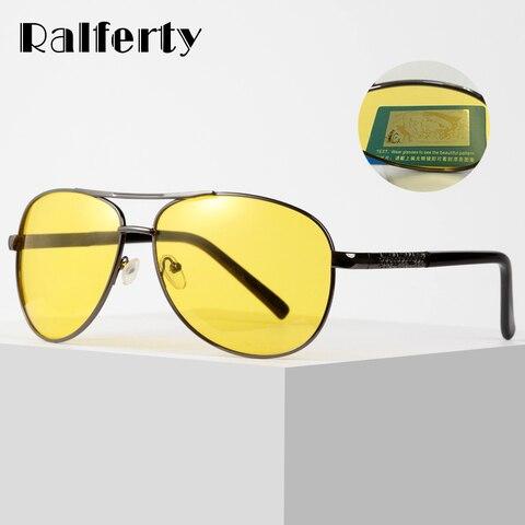 Óculos de Sol Óculos para Dirigir Polarizado Unissex Amarelo Visão Noturna Aviador Proteção Polarizada Uv400