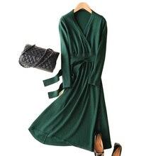 MERRILAMB 2019 האביב האחרון סגנון נשים של סרוג קשמיר צמר שמלה ארוך סגנון מוצק צבע V צוואר שמלות משלוח חינם