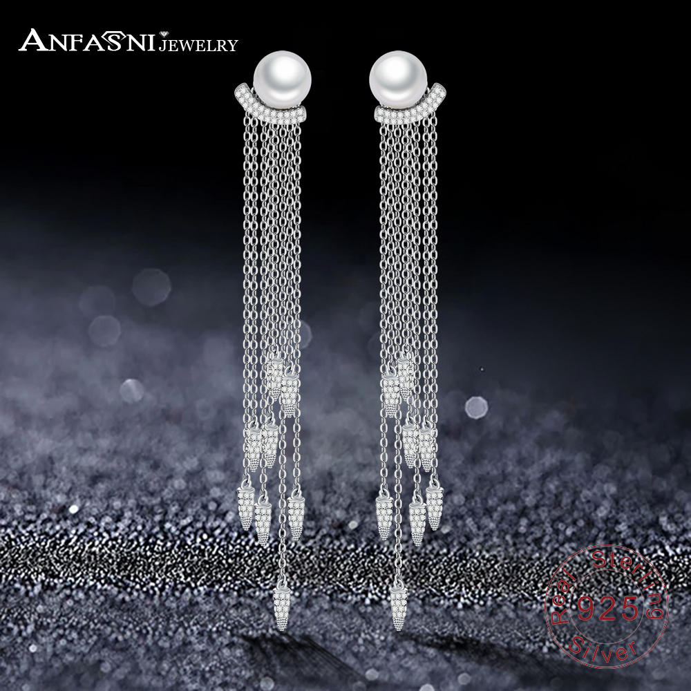 ANFASNI High Quality 925 Sterling Silver Earrings Fan-shaped Pearl Long Tassel Earrings For Women Jewelry Pendientes Brincos 1pcs mini hdmi male to hdmi female converter adapter cable cord 1080p mini hdmi to hdmi adaptor for notebook computer