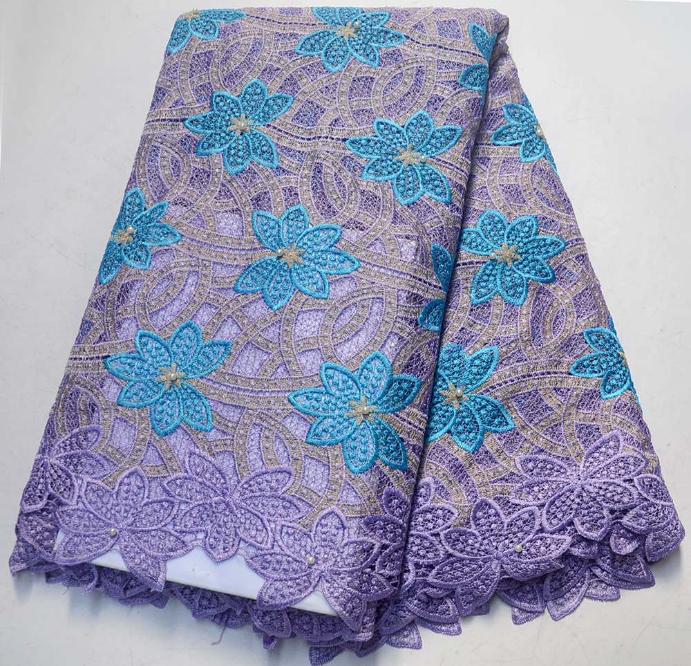 Latest Light purple Embroidered Cord Nigerian Guipure French Lace Fabric High Quality With Stones Lace Fabric For wedding dressLatest Light purple Embroidered Cord Nigerian Guipure French Lace Fabric High Quality With Stones Lace Fabric For wedding dress