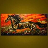 לא ממוסגר תקציר סוס ריצה בעלי חיים ציור שמן שצויר ביד גדול מודרני וול אמנות בד ציור לסלון דקור
