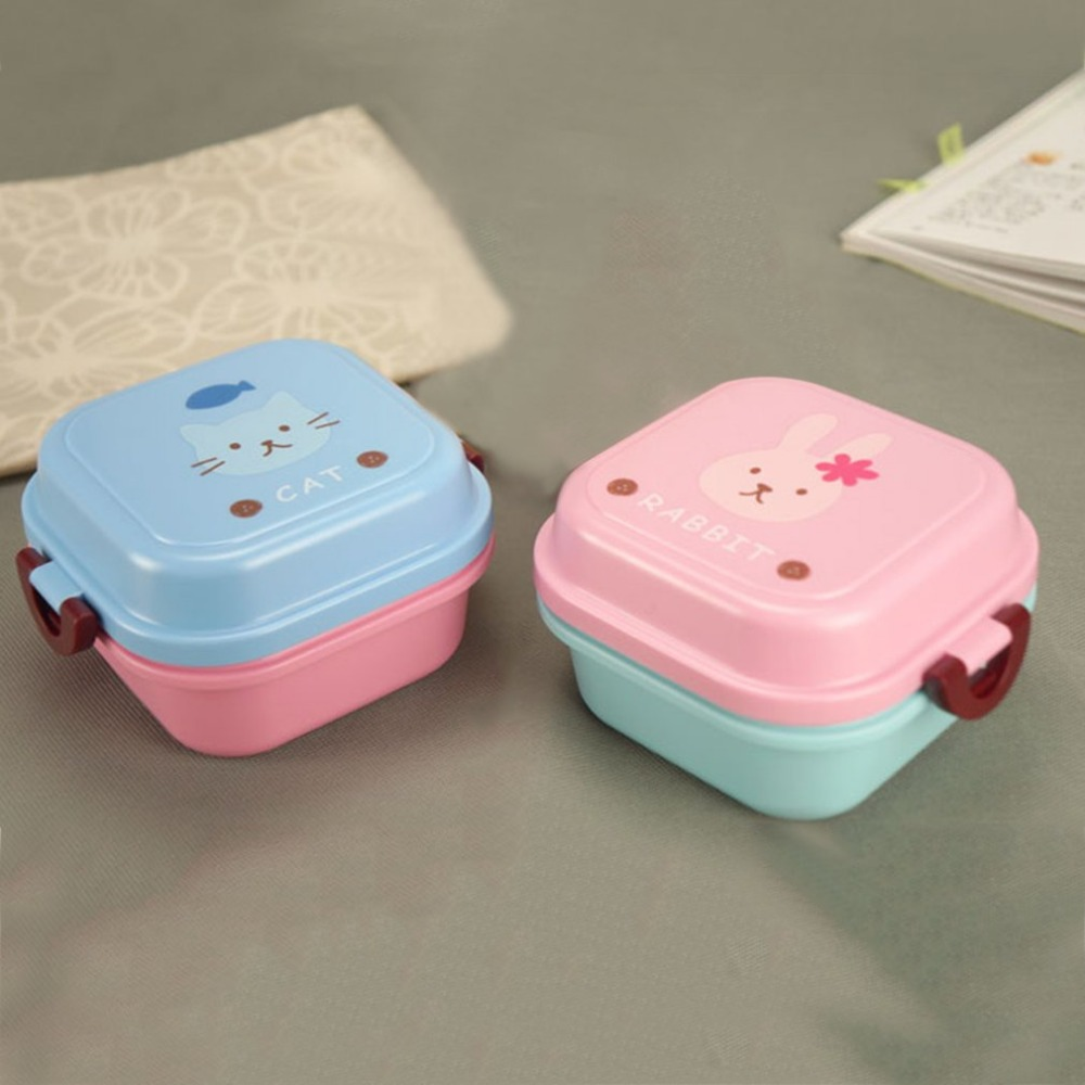 Double Layer Bento Lunchbox Plastic Food Storage Container Lunchbox For Kids Picnic Scho ...